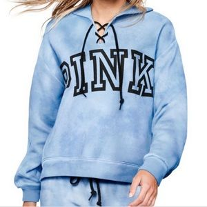 VS Pink Lace Up Tie Dye Blue Pullover Hoodie